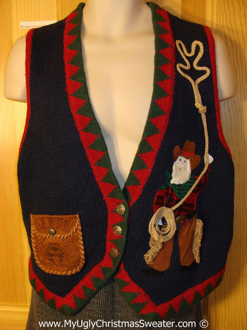 Ride 'em Cowboy! Tacky Christmas Sweater Party Ugly Sweater Vest with Cowboy Santa & Horse and Wagon on the Back  (f907)