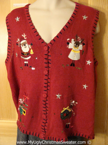 Tacky Christmas Sweater Party Ugly Sweater Vest Festive Angel Reindeer and Santa  (f909)