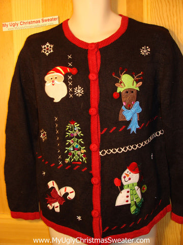 Tacky Ugly Christmas Sweater with Santa, Reindeer, Candycanes, and  Snowman (f90)