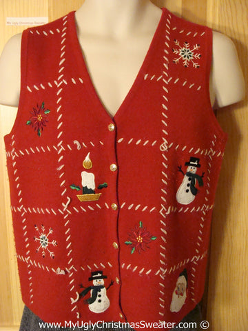 Tacky Christmas Sweater Party Ugly Red Sweater Vest with Grid Designs of Candle, Snowflakes, Snowman and Santa (f910)