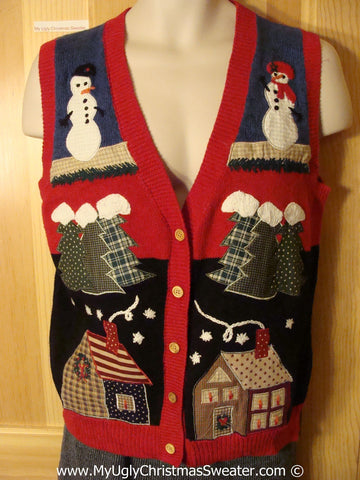 Tacky Christmas Sweater Party Ugly Sweater Vest with Crafty Plaid Houses, Trees, and Snowmen on Front and Back  (f911)