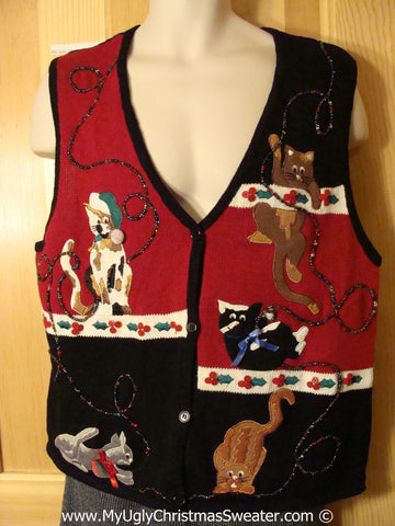 Crazy Cat Lady Alert! Tacky Christmas Sweater Party Ugly Sweater Vest  with Festive Cats on Front and Back (f912)