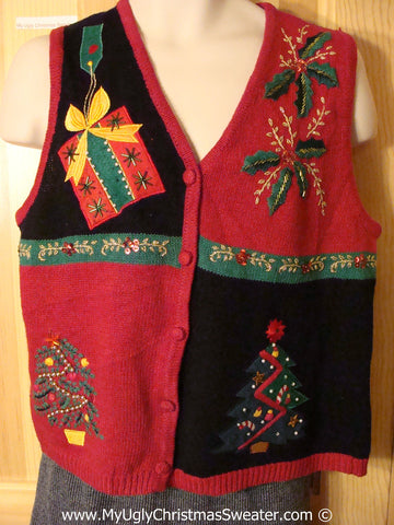 Tacky Christmas Sweater Party Ugly Sweater Vest with Bling Poinsettias, Trees, and Gifts  (f913)