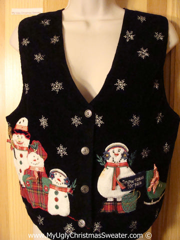 "Tacky Christmas Sweater Party Ugly Vevelty Vest with Snowman Family ""Snowflakes For Sale""  (f914)"