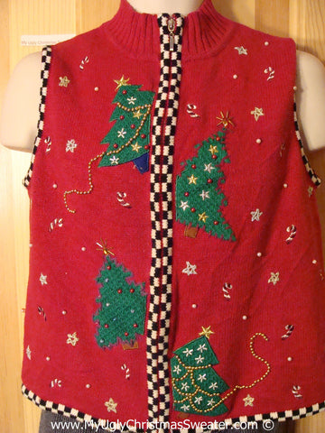 Tacky Christmas Sweater Party Ugly Sweater Vest with Festive Trees and a Checkerboard Trim  (f916)