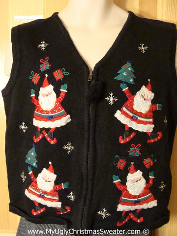 Tacky Christmas Sweater Party Ugly Sweater Vest with Festive Skiing Santas Jumping for Joy and Juggling Gifts (f918)