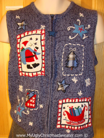 Tacky Christmas Sweater Party Ugly Sweater Vest with Crafty Patchwork Festive Santa, Sleigh, and Gifts (f919)