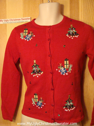 Tacky Ugly Christmas Sweater XS / Child Size with Bling Trees  (f91)