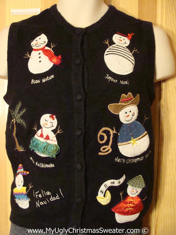 Tacky Christmas Sweater Party Ugly Sweater Vest Snowmen From Around The World Wishing 'Merry Christmas' in Different Languages   (f922)