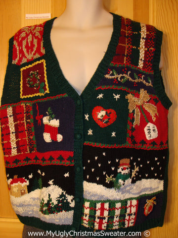 Tacky Christmas Sweater Party Ugly Sweater Vest Crafty Plaid Patchwork Design of Winter Wonderland (f923)