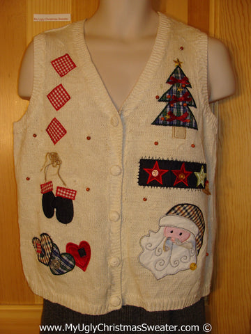 Tacky Christmas Sweater Party Ugly Sweater Vest with Plaid Themed Festive Fun (f925)