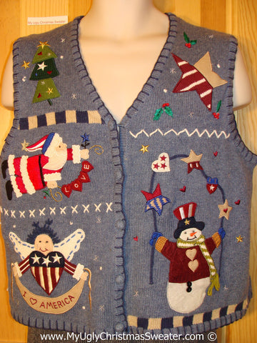 Patriotic Tacky Christmas Sweater Party Ugly Sweater Vest with Red, White, and Blue Stars and Stripes Angel, Santa, and Snowman (f926)