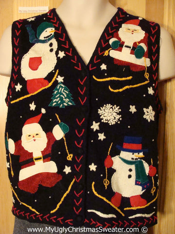 Ski Themed Tacky Christmas Sweater Party Ugly Sweater Vest Skiing Santa and Snowmen (f927)