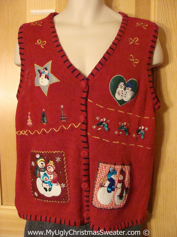 Crafty Patchwork Themed Tacky Christmas Sweater Party Ugly Sweater Vest with Snowmen in Love  (f929)