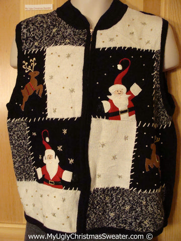 Tacky Christmas Sweater Party Ugly Sweater Vest with Patchwork Themed Santa and Reindeer (f931)