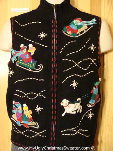 Tacky Christmas Sweater Party Ugly Sweater Vest with Sledding Eskimos and Sled Dog (f933)