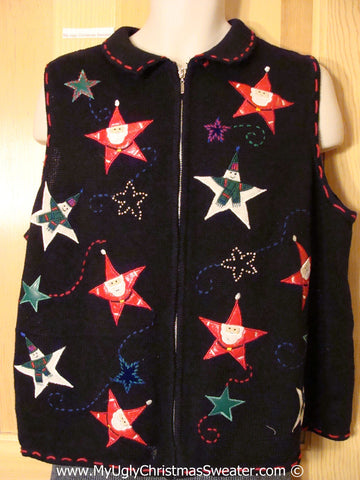Tacky Christmas Sweater Party Ugly Sweater Vest with Floating Santa Head and Snowman Stars  (f934)