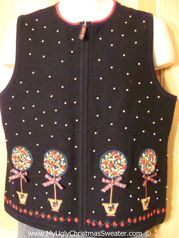 Tacky Cheap Christmas Sweater Party Ugly Sweater Vest with Horrid Festive Plants  (f936)