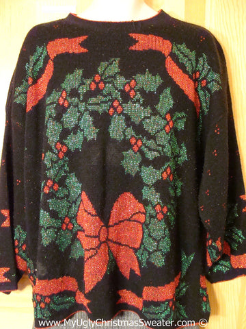 Tacky Christmas Sweater Party Ugly Sweater 80s Style Giant Wreath and Bow. Womens or Mens XXL / XXXL (f937)