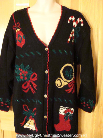 Tacky Christmas Sweater Party Ugly 80s Sweater Cardigan with Stocking, Candy Canes, Bell, and Stocking (f938)