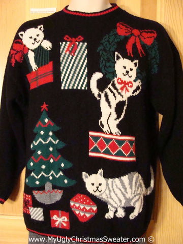Crazy Cat Lady' Tacky Christmas Sweater Party Ugly Sweater with Cats Getting Into the Christmas Decorations (f939)