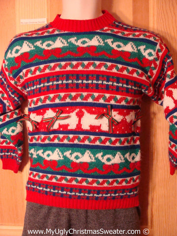 Child Size Tacky Christmas Sweater Party Ugly Sweater (f940)