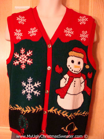 Tacky Christmas Sweater Party Ugly Sweater Vest with 80s Style Grid Design with Huge Snowman    (f941)
