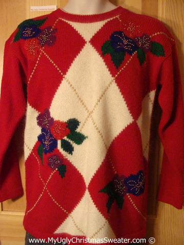 Tacky Christmas Sweater Party Ugly Sweater with Horrid Diamond Theme with Festive Foliage (f942)