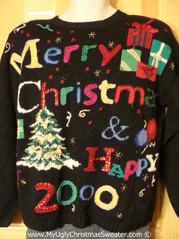 Tacky Christmas Sweater Party Ugly Sweater Christmas & New Year 2000 with 80s Style Padded Shoulders (f944)
