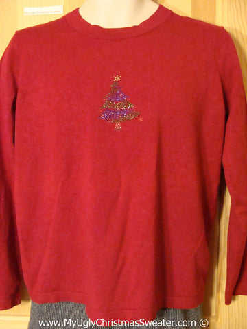 Tacky Christmas Sweater Party Ugly Cheap Christmas Sweater with Bead Bling Tree (f945)