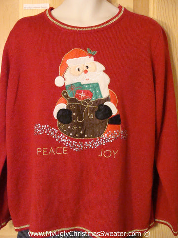 Tacky Christmas Sweater Party Ugly Sweater with Santa & PEACE & JOY (f946)