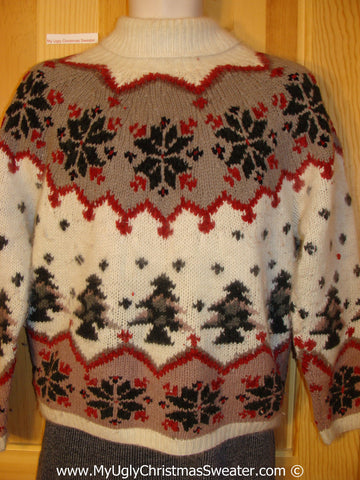 Tacky Christmas Sweater Party Ugly 80s Christmas Sweater with Nordic Pattern on Front, Back, and Sleeves  (f947)