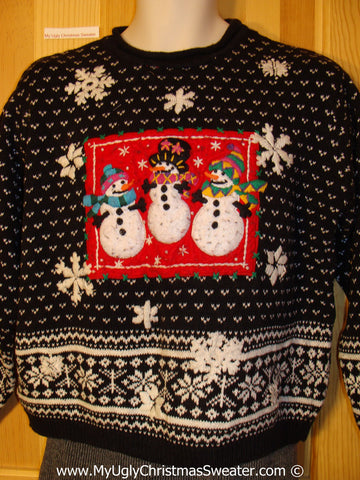 Tacky Christmas Sweater Party Ugly Sweater with Nordic Snowflakes and Festive Snowmen (f948)