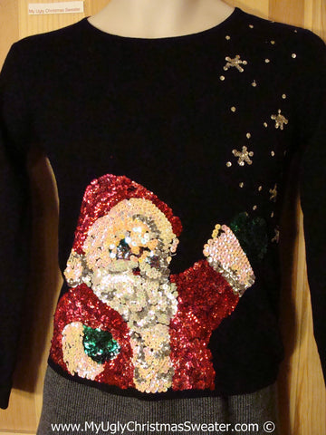 Cheap Child Size Tacky Christmas Sweater Party Ugly Sweater with Seriously Bling Santa (f949)