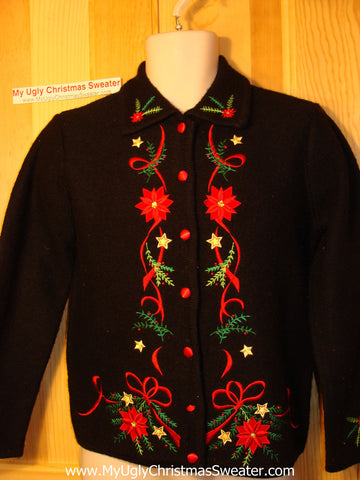 Tacky Ugly Christmas Sweater Wool with Poinsettias (f94)