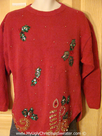 Cheap Tacky Christmas Sweater Party Ugly Sweater with 80s Style Bling (f950)