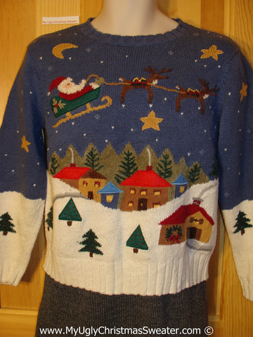 Awesome Tacky Christmas Sweater Party Ugly Sweater with Santa, Reindeer, and Winter Wonderland on Front, Back, and Sleeves 2sided (f951)