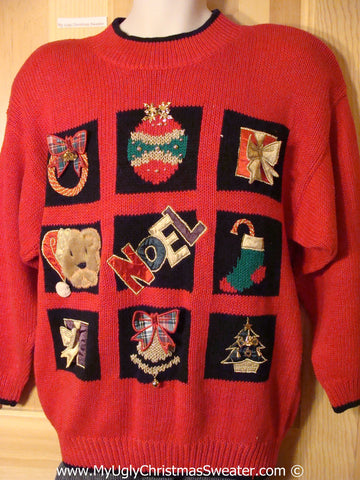 Tacky Christmas Sweater Party Ugly Sweater 80s Style with Padded Shoulders (f953)