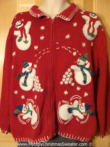 Tacky Christmas Sweater Party Ugly Sweater with Snowball Juggling Snowmen on Front & Back (f955)