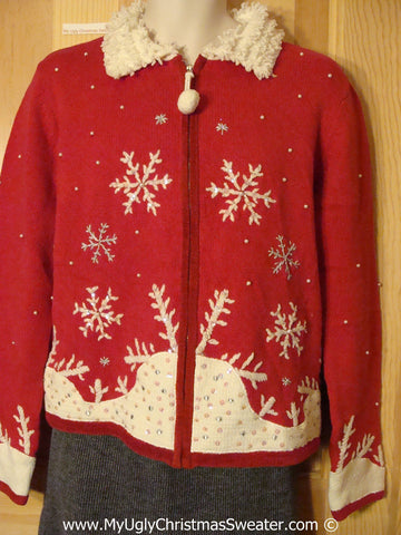 Tacky Christmas Sweater Party Ugly Red Christmas Sweater  with Pom Pom Zipper Pull (f960)