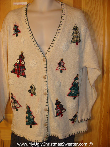 Cheap Tacky Christmas Sweater Party Ugly Sweater with Crafty Plaid Trees with Real Button Decorations (f962)