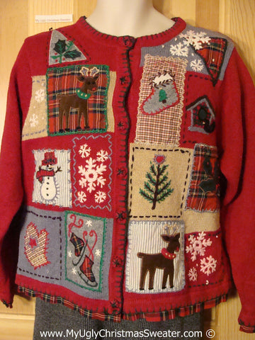 Tacky Christmas Sweater Party Ugly Christmas Sweater with Crafty Plaid Patchwork Theme with Reindeer, Skates, Snowman, and Mittens  (f964)
