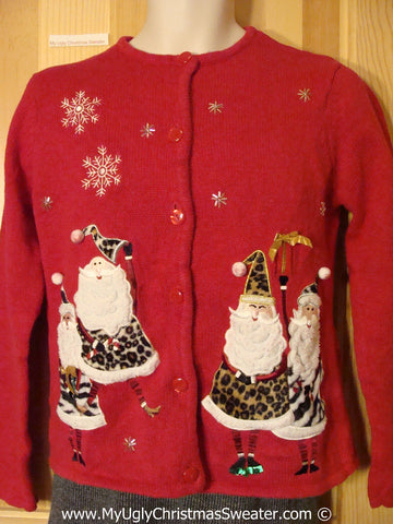Child (or XXS Adult) Tacky Christmas Sweater Party Ugly Sweater with Ridiculous Santas in Leopard / Cougar Outfits  (f965)