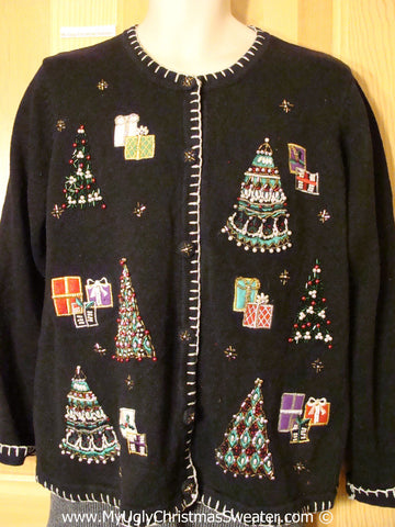 Tacky Christmas Sweater Party Ugly Sweater with Bling Trees and Gifts (f966)