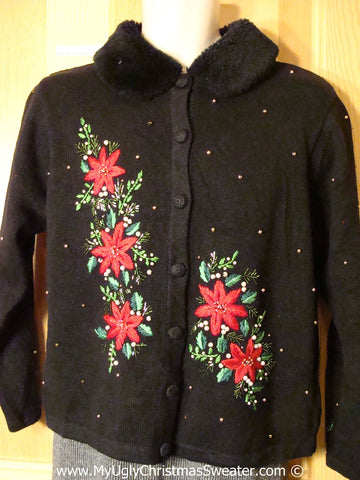 Tacky Christmas Sweater Party Ugly Sweater with Gold Bead Accents and Red Festive Poinsettias and Furry Collar (f968)