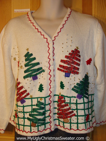 Tacky Christmas Sweater Party Ugly Sweater 2sided Zig Zag Plaid Trees on Front and Back (f969)