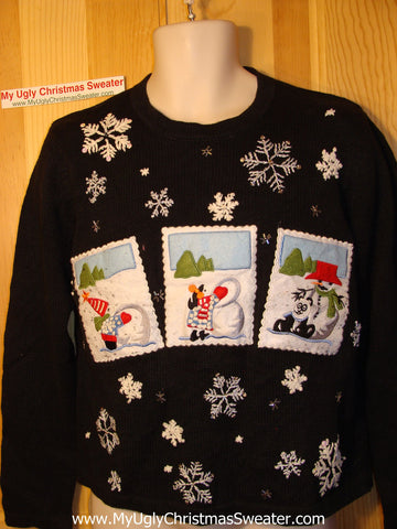 Tacky Ugly Christmas Sweater Vest with Postcard Theme Snowmen & Snowflakes (f96)