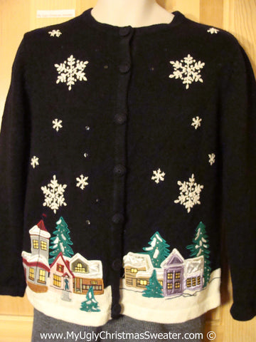 Tacky Christmas Sweater Party Ugly Sweater with Festive Winter Wonderland Town at Night Time (f973)