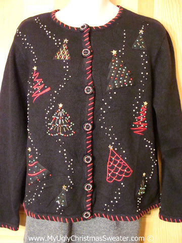Tacky Christmas Sweater Party Ugly Sweater with Bead Bling Trees (f975)