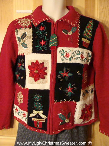 Tacky Christmas Sweater Party Ugly Sweater with Crafty Patchwork Design with Tree, Ivy, and Poinsettias (f976)